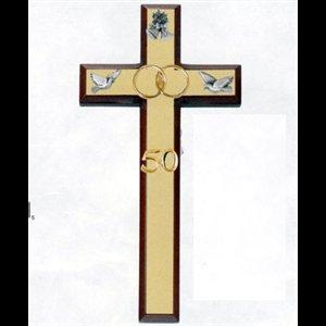 Croix 50e anniversaire de mariage dor e 7 18 cm for Robes pour le 50e anniversaire de mariage