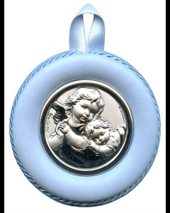 "Crib Medal with Blue Leather, 3.25"""" (8.5 cm) Dia."