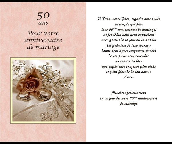 carte 50e anniversaire mariage un. Black Bedroom Furniture Sets. Home Design Ideas