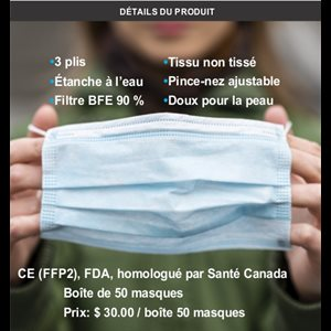 3 Ply Disposable Mask Approved by Health Canada  /  Box of 50