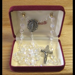 Crystal Rosary with Relic of St. Brother Andre, 8x6 mm